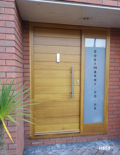 iroko contemporary door and frame with sidelight